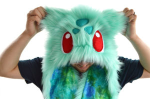 Man wearing handmade pokemon hat