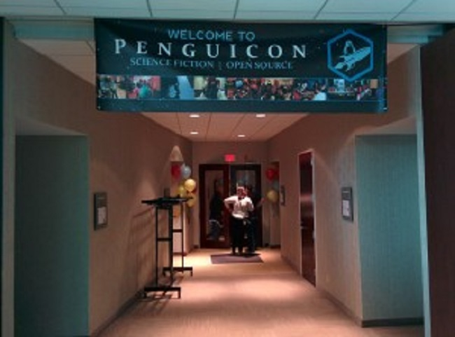 Hallway with Penguicon Banner